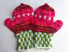 Beautiful Knit Alpaca Wool Mittens Gloves~Fold Open Style to Expose Finger Tips