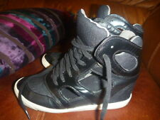 RIVER ISLAND SIZE UK 4.5 BLACK HIDDEN WEDGE TRAINERS CUT OUT DETAIL