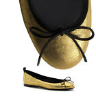 sz 36.5 NEW $495 GUCCI Gold Leather CLASSIC BALLET Black Bow SPRING FLATS 6.5