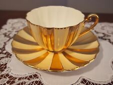 Stunning Shelley Ludlow Cup and Saucer Gold and White Panels 13620