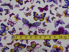 Viola Violet Butterflys Summer on Ivory BY YARDS Timeless Treasure Cotton Fabric