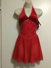 Icings NWT CL RED HALTER  ICE ROLLER DANCE SKATING  DRESS