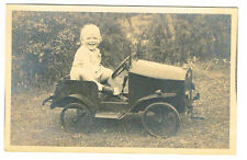 OLD POSTCARD SIZE PHOTO TODDLER IN A VINTAGE TOY PEDAL CAR 1930S  (715)