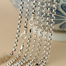 Pure 925 Sterling Silver Necklace Women & Men 3mmW Rope Chain 16 INCH L 1PCS