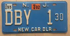 """1993  NEW JERSEY NEW CAR AUTO DEALER  LICENSE PLATE  """" DBY 1 30 """" NJ"""