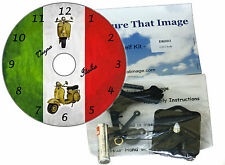 DIY CD Clock KIT. Piaggio Vespa Scooter on Italian Flag - Wall or Desk Clock