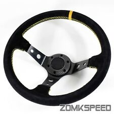 350mm Deep Dish Drift 6-Bolt Black Suede/Yellow Stitching Sport Steering Wheel