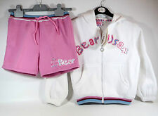 BNWT BEAR USA Girls PRETTY Pink White HOODIE JACKET TOP & SHORTS Age 6 - 7 Years