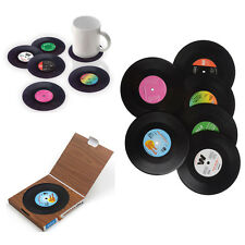 6pcs Vinyl Coasters Groovy Record Bar Cup Drinks Holder Mat Tableware Placemat