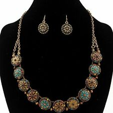 Western Cowgirl Turquoise Coral Seed Beads Flowers Necklace with Earrings