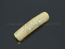 Zircon Gemstones Pave Curved Tube Bar Bracelet Connector Charm Beads Silver Gold