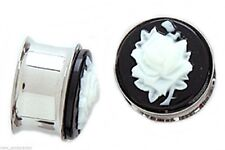 """PAIR-Cameo Rose White Steel Double Flare Plugs 16mm/5/8"""" Gauge Body Jewelry"""