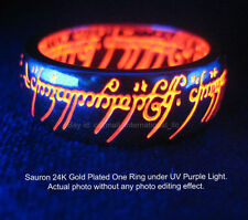 NEW The LORD OF THE RINGS SAURON One RING 24K GOLD Plated UV RED HOBBIT BILBO
