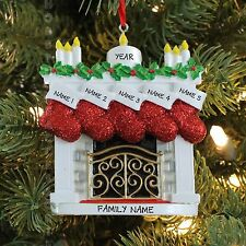 FIRE PLACE MANTLE STOCKING FAMILY OF 5 PERSONALIZED CHRISTMAS TREE ORNAMENT 2016