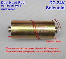 DC 24V Push Pull Type Rod Solenoid DC Micro Electromagnet Dual Head Auto Reset