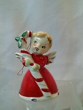 Vtg Japan mid-cent 50's Christmas Angel Bell Candy Cane red decor CUTE Girl!!
