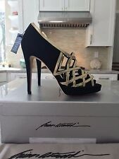 NIB BRIAN ATWOOD BLACK SUEDE GOLD PATENT LEATHER PLATFORM CAGE PUMPS 38 US 8