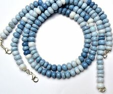 """NATURAL GEM PERUVIAN BLUE OPAL SMOOTH 8MM RONDELLE BEADS NECKLACE 203CTS. 18"""""""
