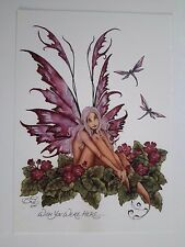 PINK PRIMROSE & DRAGONFLY FLOWER Faerie  FAIRY POSTCARD ART PRINT BY AMY BROWN