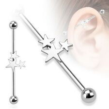 """1 TRIPLE 3 STAR INDUSTRIAL BARBELL 14G 1&1/2"""" 316 Surgical Stainless Steel 38MM"""