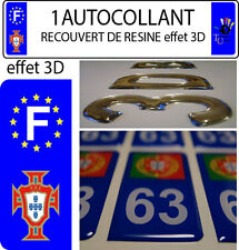 1 STICKER Autocollant Portugal FPF Foot plaque immatriculation auto 3D EN RESINE