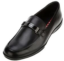 NEW PRADA MEN'S BLACK LEATHER SIGNATURE PLATE LOAFERS SLIP-ON SHOES 11/US 12