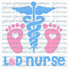L&D Nurse Baby Feet Vinyl Decal Caduceus Medical Sticker Car Labor & Delivery