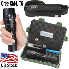 5000LM XML T6 LED Tactical Police Military Flashlight 18650 Battery Charger Case