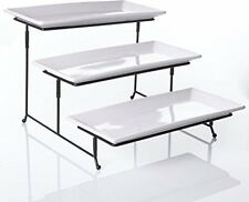 3-Tier Rectangular Serving Platter Cake Tray Stand Display Plate Rack White