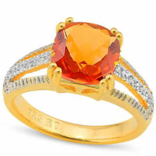 Azotic Topaz Gemstone Diamond Ring .925 Sterling Silver, size 7