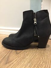Topshop 5 Black Boots Ankle Leather Zip Festival Bloggers BNWT