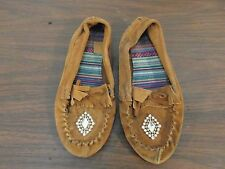 Adult Women's Authentic Light Brown Leather 3.5 Moccasins Jeweled 32989