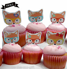 8 fox Lady Edible Pop Top Cupcake Toppers  | Cake Toppers | Birthday decorations