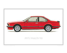 BMW 635CSi M6 red - Limited Edition Classic Car Print Poster by Steve Dunn