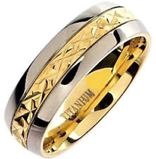 Plain TITANIUM Ring with Gold Plated Engraved Band, size 9 - in Gift Box