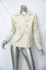 GERARD DAREL White-Bone Sheep-Skin Double-Breasted Leather Jacket Coat M/36 NEW