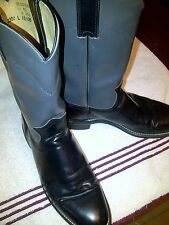 Vintage Justin Diamond J Gray & Black Leather Roper Cowboy Boots Womens 6.5 B