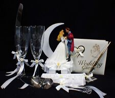 Disney SLEEPING BEAUTY Wedding Cake Topper LOT Glasses knife guest book garter 2