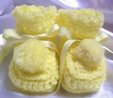 HANDMADE CROCHET BABY REBORN DOLLS BOOTIES SHOES YELLOW PREEMIE NEWBORN