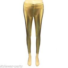 Ladies Hot Disco Leggings Stretch Shiny American Metallic Wet Look Pants 8-14