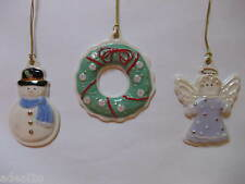 Lenox Sugar Cookie Ornament Set- Wreath, Snowman, Angel