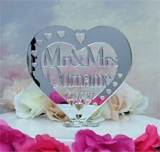 Personalised Wedding Heart Cake Topper Mr & Mrs Name Keepsake Mirror Acrylic tl2