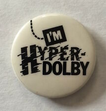 RARE Vintage 1984 Thomas Dolby promo pinback button I'm Hyper-Dolby badge pin