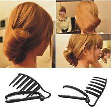 11CM Women DIY Formal Hair Styling Updo Bun Comb And Clip Tool Hair Twist Maker