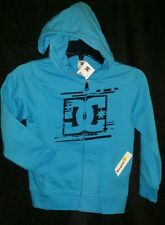 NEW DC SHOES HOODIE LONG SLEEVE ZIPPER ZIPPER UP UNISEX AQUA & BLACK JACKET SZ 6