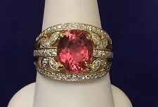 ESTATE Ladies Solid 18kt Gold RIng 4.80 Ct Oval PINK Topaz & Diamonds sz 8.25