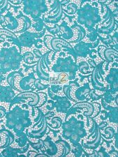 """ROSE FLORAL PAISLEY GUIPURE VENICE LACE FABRIC - Teal - 50"""" WIDE BY YARD DRESS"""