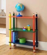Kids Pencil Bookcase Book Shelf Shelves Solid Wood CD DVD Children Game Storage