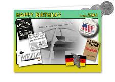 56a Compleanno Carta SOUVENIR DEL 1961 ARGENTO HALF CROWN Set Regalo (2017)