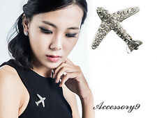 2 pcs Sparkly white clear crystal silver Brooch pin Aircraft Airplane Jet flight